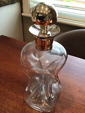 1890  MAppin & Webb Pinch Glass Decanter With Solid Silver Stopper & Collar