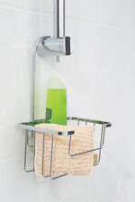 Croydex HANGING SHOWER CADDY Riser Rail Hook Over Basket Chrome Plated Steel