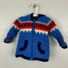 Baby Boden Boys Sz 12 - 18 Mo Lambswool Sweater Hooded Zip Blue Red White