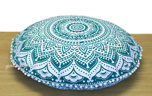 "New 32"" Round Green Ombre Floral Mandala Pillow Cover Floor Cushion Covers Throw"