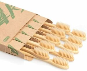 Bamboo Toothbrush 10 PCS Wooden Toothbrushes Organic Wood Natural Eco Friendly