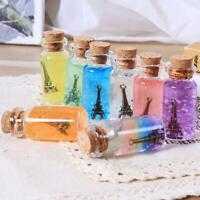 5pcs Mini Small Glass Bottles with Cork Stopper Tiny Vials Wish Jars Containers