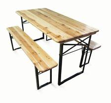 Set tavolo e 2 panche in legno richiudibile da esterno per giardino, birreria