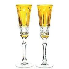 Faberge Xenia Yellow Gold Cut to Clear Crystal Champagne Wine Flutes New Signed