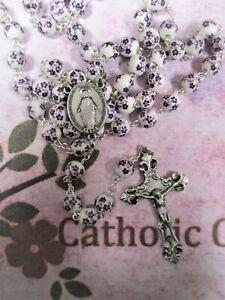 8  mm White w/ Purple Flower Round Ceramic Bead - Beautiful Pewter Rosary