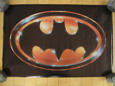 NOS!! 1989 vtg BATMAN LOGO POSTER michael keaton 80s MOVIE promo DC COMICS