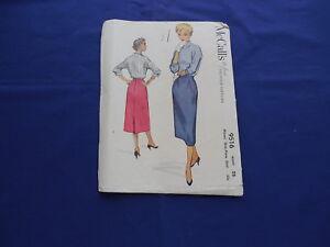 Vintage McCall's Slim One-Piece Skirt Pattern 1953 #9516 Waist 28