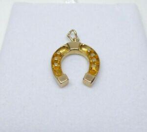 9ct Gold Horseshoe Pendant Hallmarked Yellow Gold with Gift Box