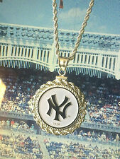 MLB NEW YORK YANKEES NECKLACE w MATCHING STERLING SILVER ROPE BEZEL & CHAIN