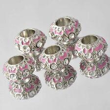 5pcs Silver Plated Pink Enamel CZ Charms European Bead Fit Snake Chain Bracelet
