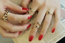 #9063 Fashion Women's Warp Gold Above Band Midi Knuckle Ring Rings 3Pcs/Set