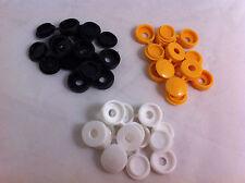 Confezione 24 PLASTICA NYLON Hinged Screw COVER CAPS FLIP TOP BIANCO NERO GIALLO