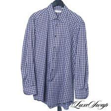 Luciano Barbera Made in Italy Cigar Brown Indigo Multi Tartan Twill Shirt L NR