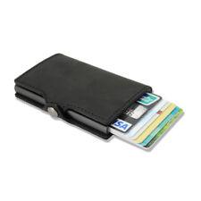 Slim Pop up Credit Card Holder Genuine Leather RFID Blocking Metal Wallet M Clip Black