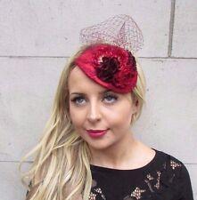 Red Burgundy Wine Net Rose Flower Fascinator Teardrop Races Wedding Hat Vtg 3358
