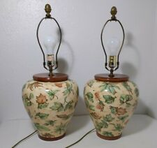 Retro Pair of Table Lamps - Vintage Pottery Vase - Leaves