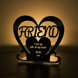 Personalised Tea Light Heart Candle Holder For FRIEND Birthday Keepsake Gift