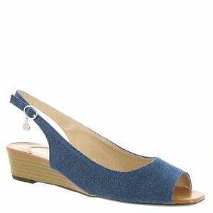 J.Renee Womens Alivia Fabric Peep Toe Casual, Blue/Silver/Cuoio, Size 7.0 aJhQ