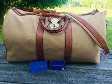Ralph Lauren Purple Label Gold Canvas Brown Leather Travel Duffle Bag Italy
