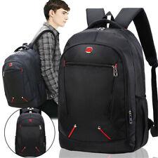"""Travel 17"""" Laptop Backpack School Bag Hiking Rucksack Shoulder Black Notebook"""