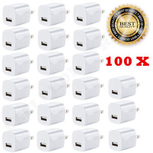 100x White 1A USB Power Adapter AC Home Wall Charger US Plug for iPhone 6 7 8 X