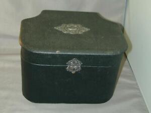 1880's Gentleman's Collar Vanity Box Satin Lined Oil Cloth With Mirror