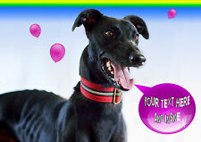 PERSONALISED GREYHOUND LURCHER DOG BIRTHDAY ANY OCCASION CARD + Illus Insert