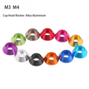 M3 M4 Aluminium Round Cup/Cone Head Gasket Washers for Hex Socket Screws Bolts