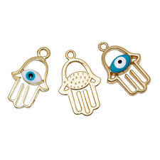 2 pieces Pendants Dangle Charms Gold plated Hamsa Evil Eye  jewelry findings S27