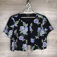 Perceptions Women's Size 2X Short Sleeve Cropped Blazer Jacket Floral Print