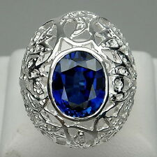 HANDSOME! BLUE SAPPHIRE 12 X 10 MM. 5.85 CT. STERLING 925 SILVER RING SIZE 6.5