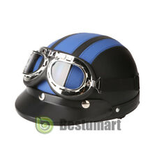 DOT German Blue Leather Motorcycle Half Face Helmet Biker Pilot Goggles 54-60cm