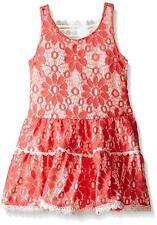 Rare Editions Girls' Coral Lace Drop Waist Dress, Coral, 5