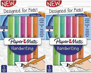 Paper Mate Handwriting Round Marker Pens for Kids Black Ink 5 Pack - Lot of 2
