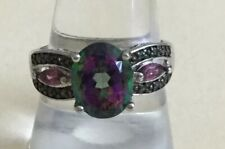 Sterling Silver 925 Mystic Topaz & Pink Cz Stone Ring Sz 8.75 Q45