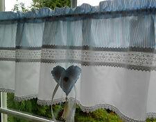 Einzigartige Landhausgardine Vintage Stil hellblau weiß Herz Weißstickerei Nr.41