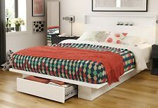 White Queen 1-Drawer Storage Platform Bed Home Furniture Headboard Included