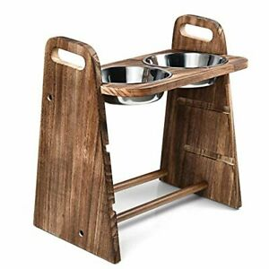 Dog Bowls Elevated Wood Raised Dog Bowl Stand with Double Bowls Raised Feeder