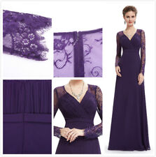 Ever Pretty Dark Purple Bridesmaid Dresses Long V-neck Lace Evening Gowns 08692