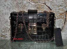 NWT LA REGALE Black Crocodile Trunk Box Chain Crossbody Bag Clutch Petite Malle