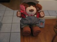 1986 BUBBA FURSKINS HAT BANDANA OVERALLS PLUSH BEAR  XAVIER ROBERTS WITH TAG 13""