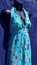 Vtg 70s Maxi Dress Floral Halter Beach High Tide Surf Pin Up Retro California S