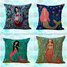 *US SELLER*4pcs wholesale cushion covers marine mermaid decorative pillow cases