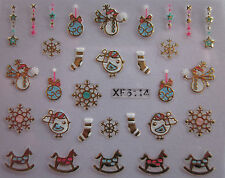 Christmas 3D Nail Art Stickers Decals Gold Snowflakes Robbin Horse (XF6114)
