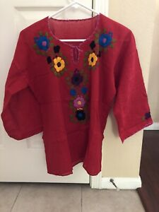 New Mexican Top Small Peasant Embroidered Blouse Red