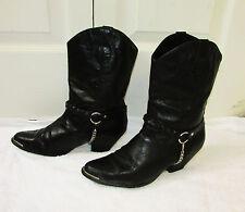 Womens Laredo Western Cowboy Boots Black Leather w Buckle Chain 28-3671 Size 7 M