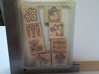 STAMPIN UP TAGS & MORE SET OF 8 WOOD MOUNTED RUBBER STAMPS EUC A13763