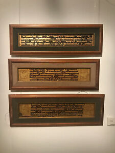 1235 Set of 3 Framed Antique Kammavaca Buddhist Manuscript Folios from Burma