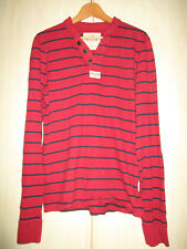 mens HOLLISTER RED COTTON STRIPED BUTTON NECK LONG SLEEVE SHIRT SIZE