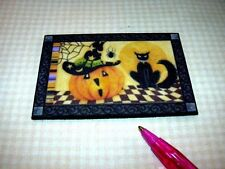 Miniature BLACK CAT/PUMPKIN Halloween Door Welcome Mat DOLLHOUSE Miniatures 1/12